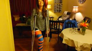 Jane's first time on her crutches! Long leg cast!