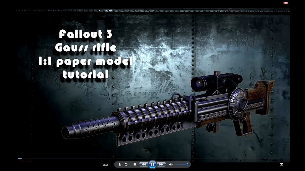 Papercraft #1 Fallout 3 Gauss rifle paper model tutorial Karabin Gaussa model papierowy 1:1 replika