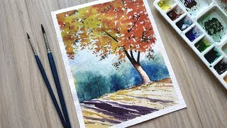How to Paint a Fall Scenery with Watercolors for Beginners | Paint with David