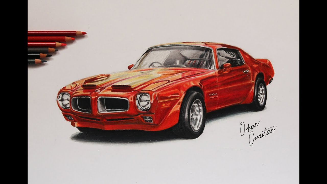 Pontiac Firebird Formula 400 American V8 Muscle Car Drawing Orhan