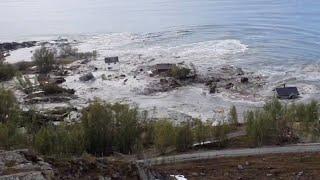 Ein anwohner hat festgehalten, wie in norwegen mehrere häuser einen fjord gerissen wurden. verletzte gab es bei dem vorfall nicht. © reuterslink zum video...