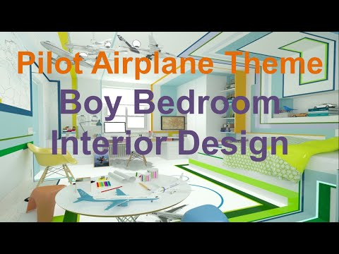 Pilot Airplane Theme Boy Bedroom Interior Design Idea