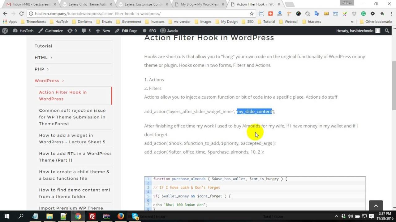 Using Action, Filter Hook in wordpress