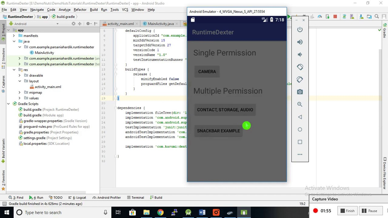 Android Easy Runtime Permissions With Dexter Library Example Tutorial