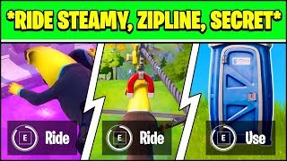 RIDE THE STEAMY STACKS, A ZIPLINE, AND USE A SECRET PASSAGE IN A SINGLE MATCH LOCATIONS (Fortnite)