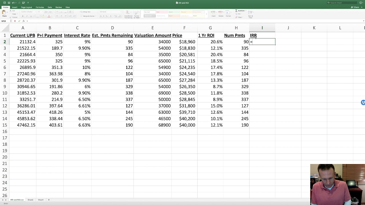 excel for mortgage notes roi and irr youtube
