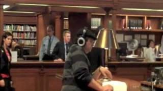 Kirk tests Orbit MP3 speakers in New York Public Library