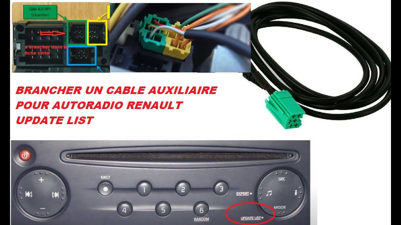 installer cable auxiliaire renault autoradio update list tuto youtube. Black Bedroom Furniture Sets. Home Design Ideas