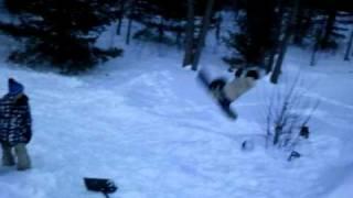 backyard snowboard jump - Andy front flip! thumbnail