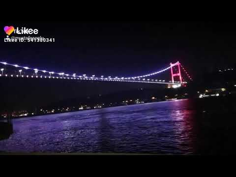 جسر اسطانبول منظر ليلي رائع لجسر البوسفور الواقع على بحر مرمراي تركيا