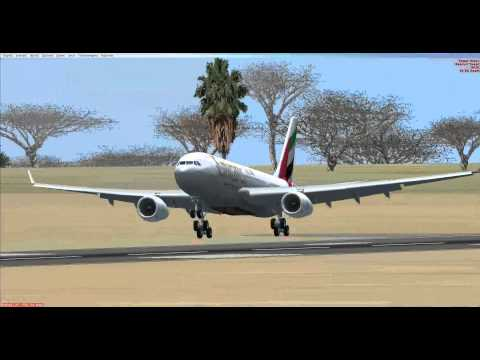 Emirates Airbus A330-200 landing in Nairobi during windy weather (FSX)