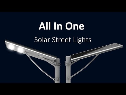 Integrated outdoor solar LED street lights video illustration