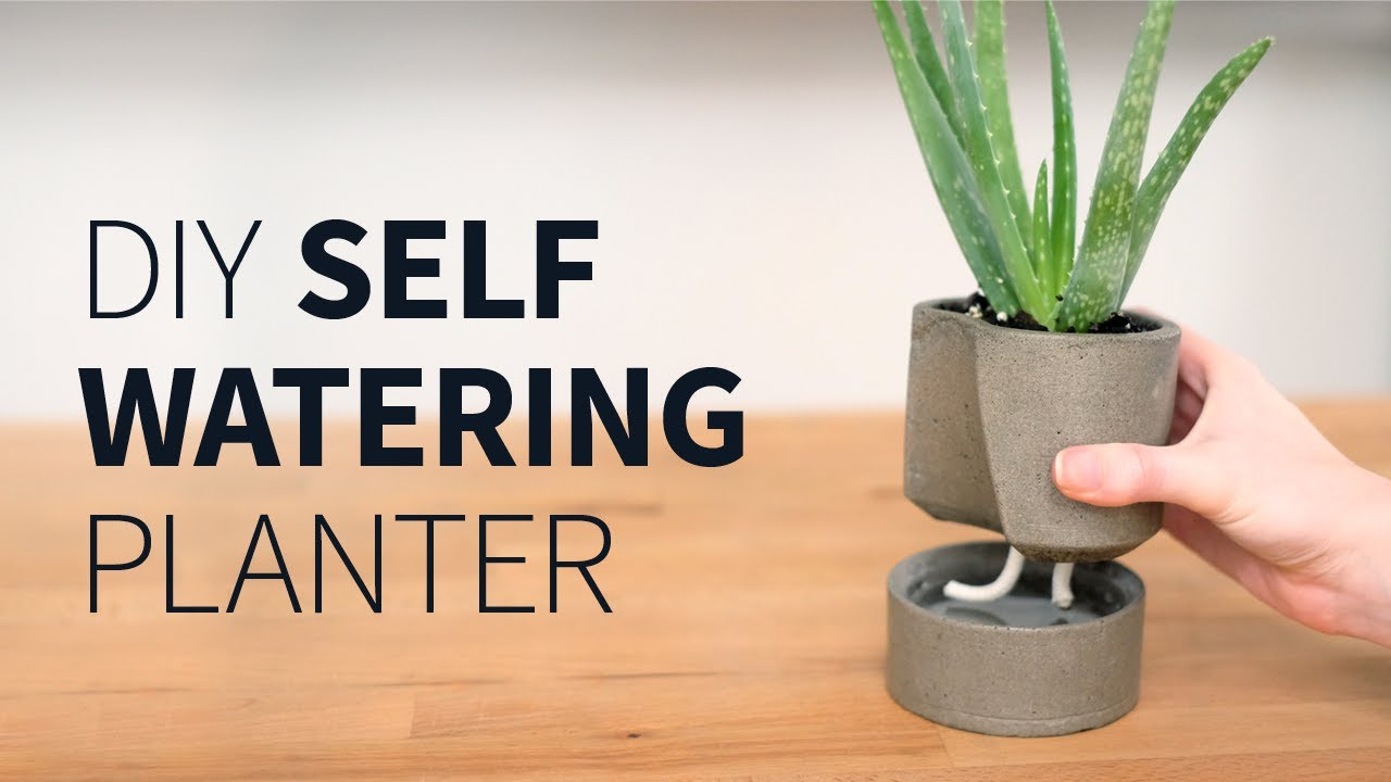 diy self watering concrete planter how to youtube. Black Bedroom Furniture Sets. Home Design Ideas