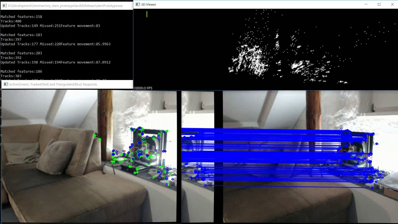 Simple SLAM with OpenCV and PCL
