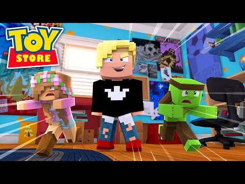 TINY TURTLE SAVES LITTLE KELLYS LIFE - Minecraft TOY STORE w/ Sharky and Little Carly