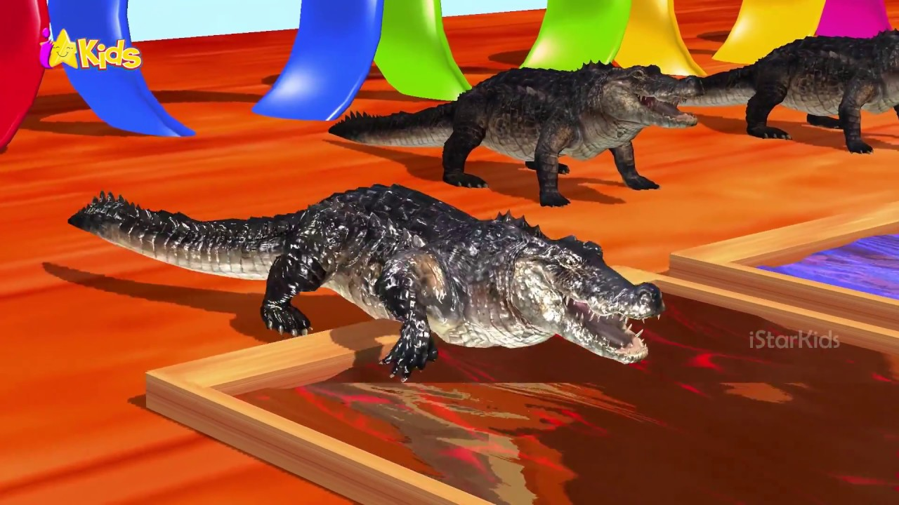 Learn colors learn animals crocodile with colour water change cartoon for children istarkids