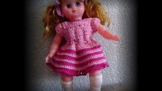 платье с кокеткой реглан крючком Вяжем с Людмилой Тен