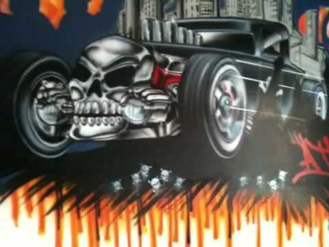Ddub airbrushing hot wheels mural !! - YouTube