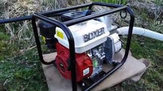 Поливаю огород с мотопомпой.