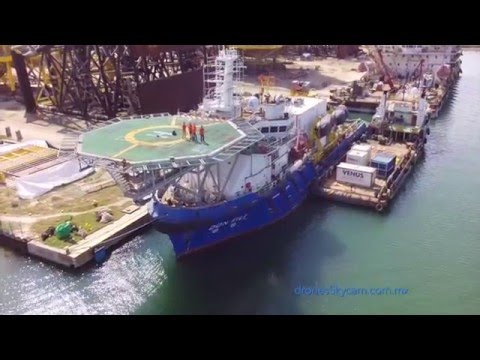 Aerial Video. Oil platforms in Tabasco, Mexico