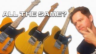 MASSIVE Butterscotch Telecaster Comparison! - Squier Affinity VS Classic Vibe 50s VS Fender Player