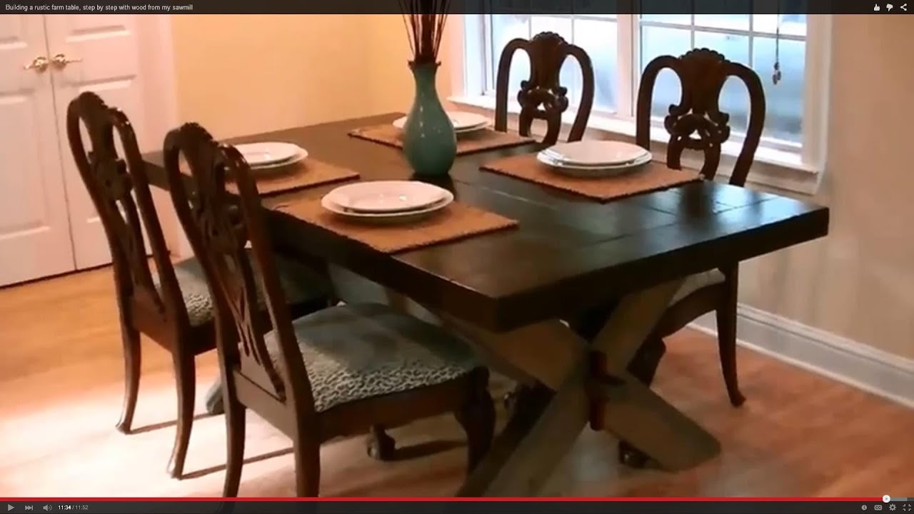 How To Build A Farmhouse Table Youtube Building A Rustic Farm Table Step By Step With Wood From