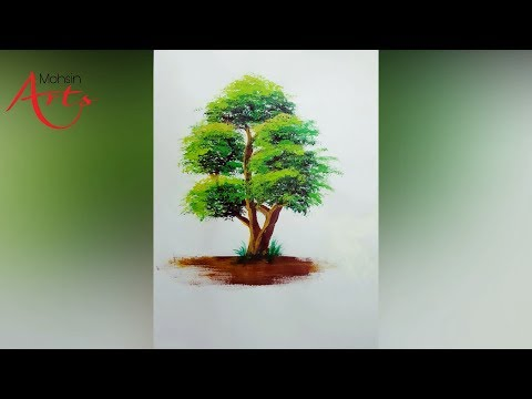 How to paint a tree in Acrylics by mohsin art