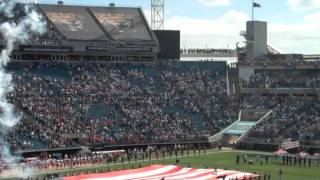 hd national anthem and b 2 fly over jaguar and kansas city chiefs game jacksonville florida