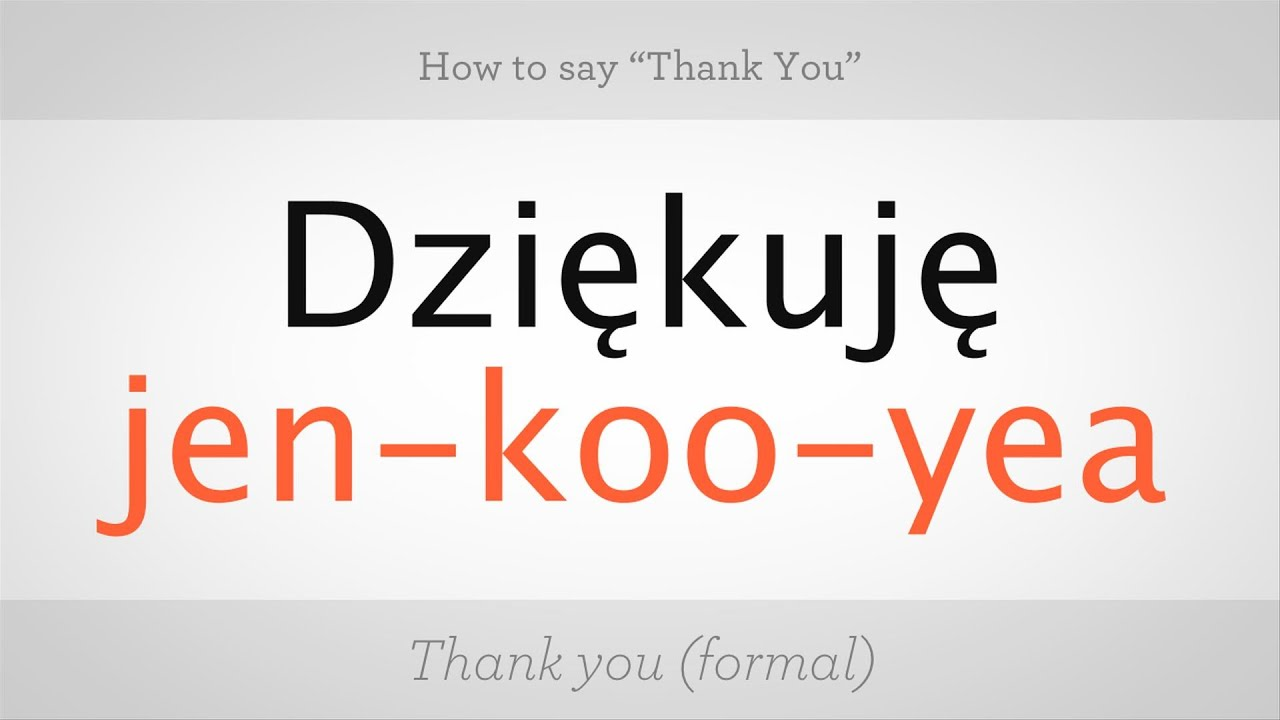 How To Say Thank You In Polish Polish Lessons Youtube