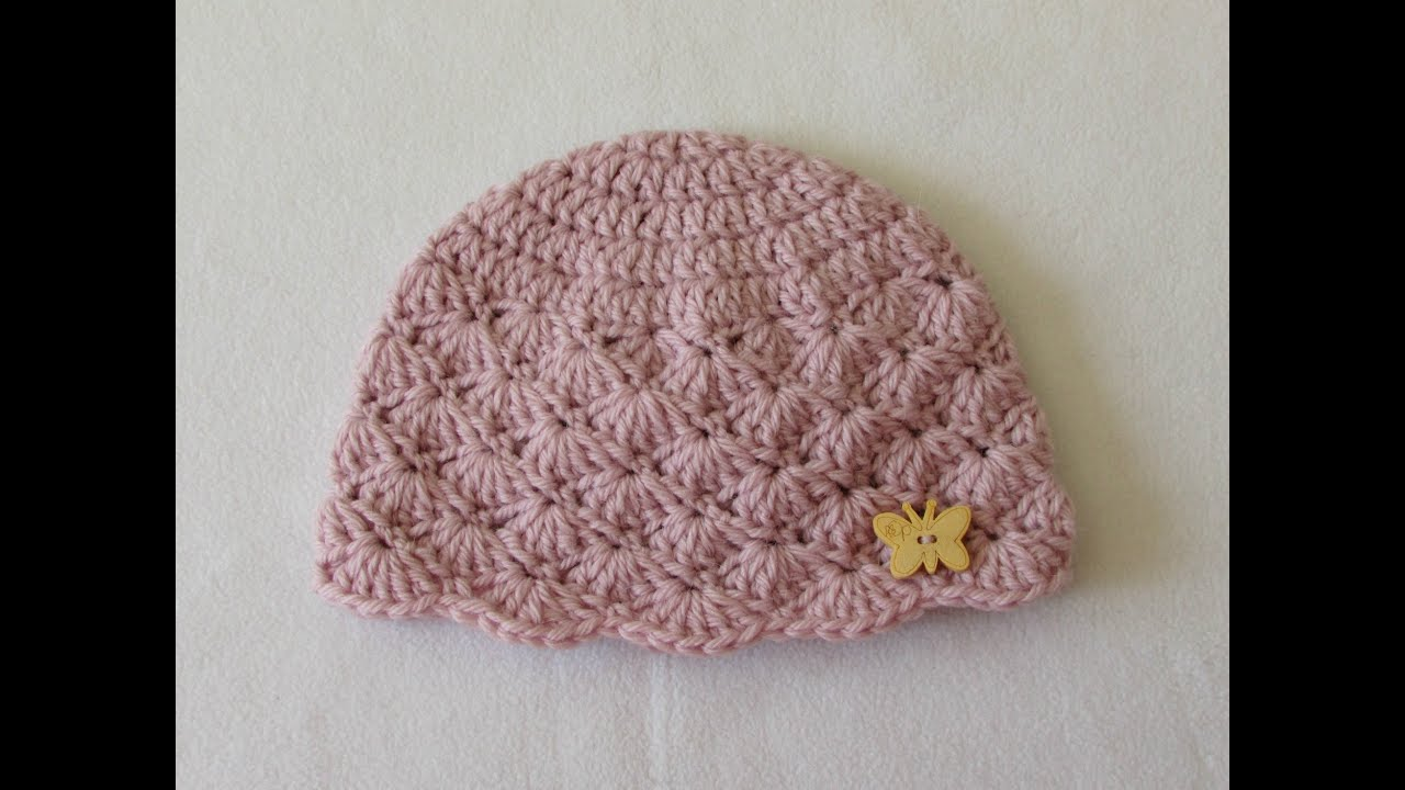 c2ce11984cb How to crochet a cute baby girl s hat for beginners - YouTube