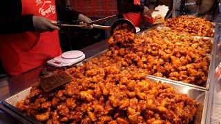 Хрустящий пряный корейский цыпленок гангчжон   Корейская уличная еда