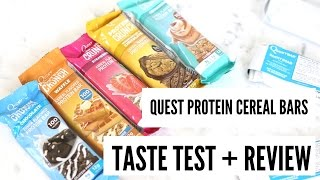 Taste Testing Protein Cereal Bars! Quest Labs Review! IIFYM SNACKS