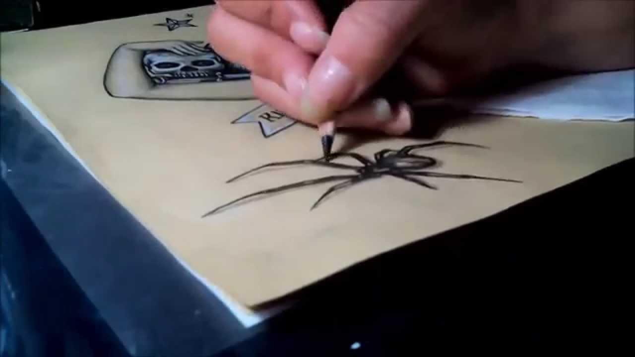 Popolare Drawing 3d spider tattoo sketch - Disegno di ragno a matita - YouTube JY81