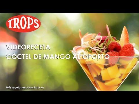 Videoreceta Cocktail de Mango TROPS al Oporto con Jamón Ibérico y Nieve de Pistacho