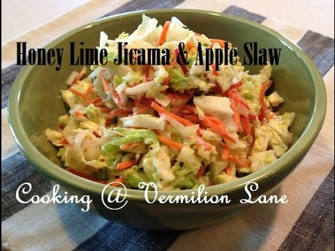 Honey Lime Jicama and Apple Slaw