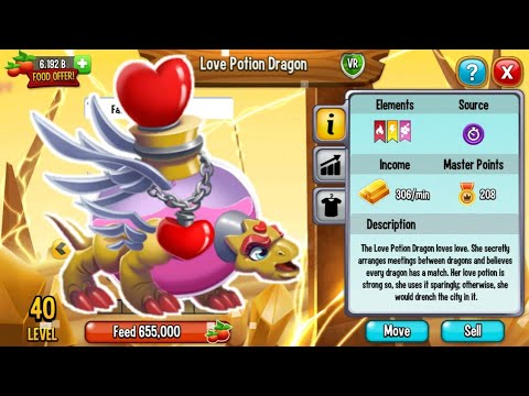 Dragon city : Love Potion Dragon [New Very Rare Dragon]