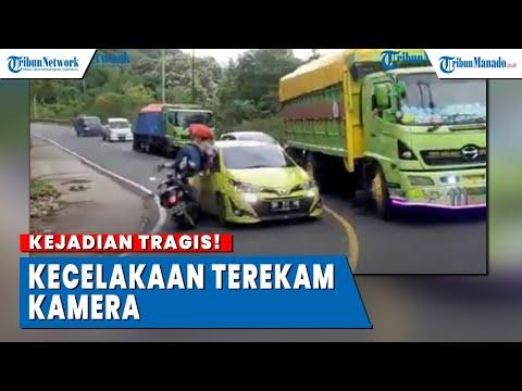 Detik-detik Kecelakaan, Tabrakan Antara Mobil Vs Motor Saat Di Tikungan, Berakhir Tragis