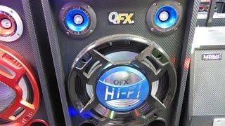 qfx sbx 412302btd triple 12 pa speaker system 9 lcd bluetooth usb sd inputs