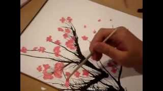Интересный способ нарисовать цветущую сакуру(Урок рисования: простой и интересный способ нарисовать ветку цветущей сакуры. Рисуем акриловыми красками,..., 2014-08-06T16:56:37.000Z)