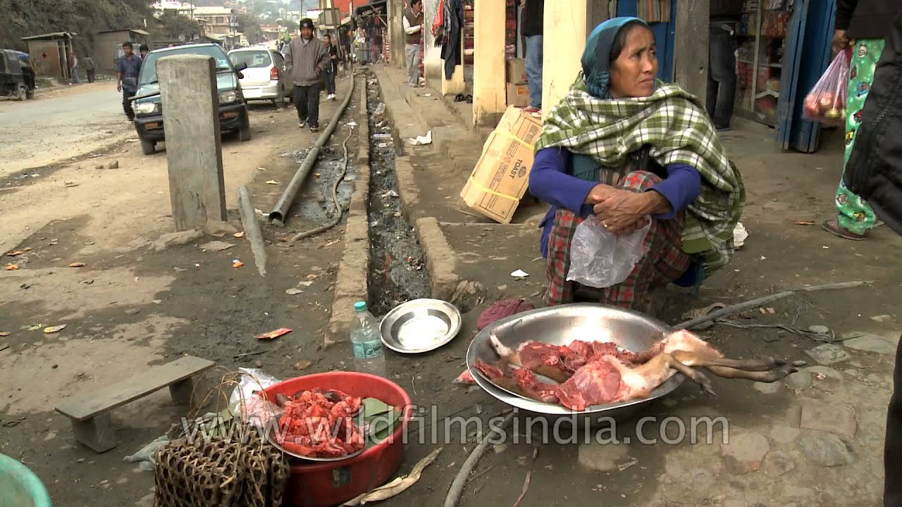 Deer meat or venison being sold on Indian streets