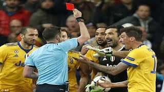 Gianluigi Buffon sent off in possible final Champions League appearance after confronting