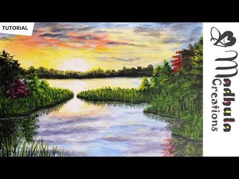 How to paint a Sunset – Acrylic Painting Tutorial – Sunset and Water – Step by Step