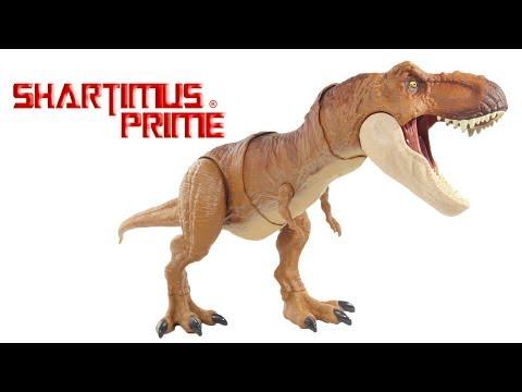 Jurassic World T-Rex Thrash N Throw Mattel Movie Tyrannosaurus Rex Figure Toy Review