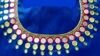 mirror work with maggam design blouses by rajani