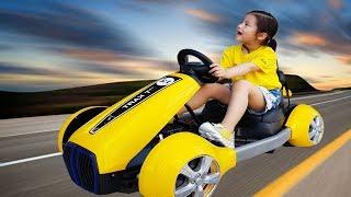 완전 빠른 노란 스포츠카를 타봤어요!! 서은이의 노란 전동 자동차 신나게 타기 Yellow Car Toy Power Wheel