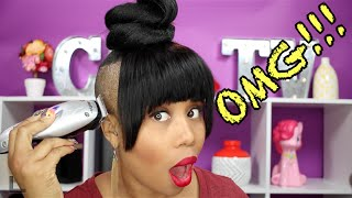 SHAVED SIDES, FAUX BANGS, & TOP KNOT BUN ALMOST GONE WRONG!!!~beautyGASM~CGTV