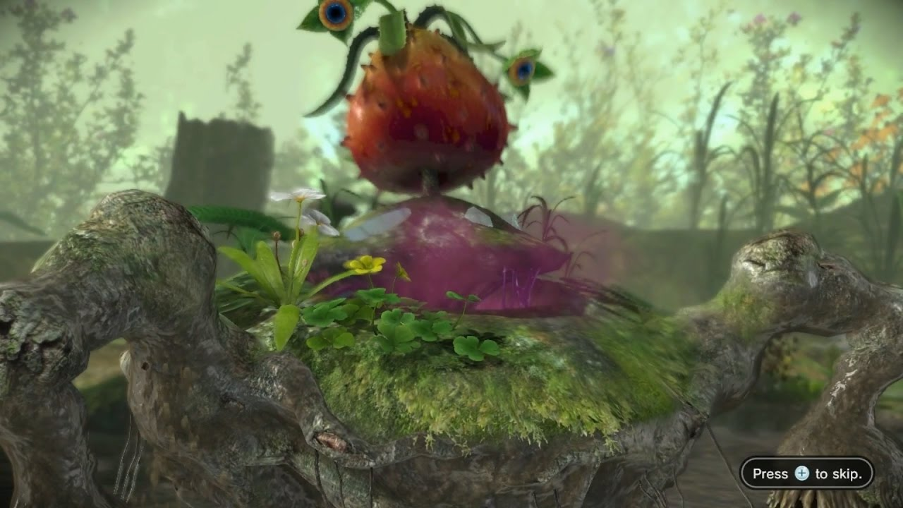 Pikmin 3 Mission Mode Defeat Bosses 05 Quaggled Mireclops