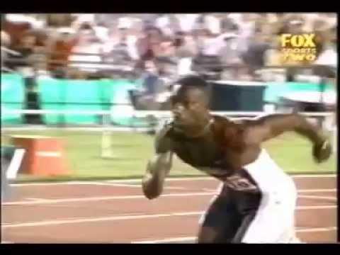 Michael Johnson 200m WR Atlanta 1996 Slowmotion
