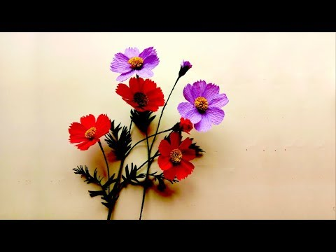 How To Make Origami COSMOS FLOWER From Crepe Paper | DIY Easy Craft Ideas