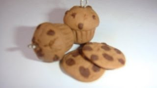 Chocolate Chips Muffin Charm: Polymer Clay thumbnail